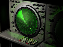 1978 radar. Radar from year 1978 with green screen and incoming objects Stock Photography