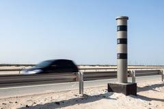 Radarowa prędkości kontrola kamera przy autostradą Zdjęcia Stock