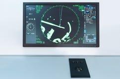 Radarpanel på ett fartyg Bräde för maritim navigering arkivbilder