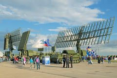 Radars. ZHUKOVSKY, MOSCOW REGION, RUSSIA - AUG 30, 2015: Self-propelled radar systems at the International Aviation and Space salon MAKS-2015 Royalty Free Stock Photo