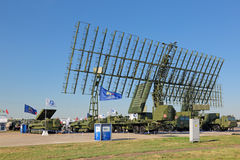 Radars. ZHUKOVSKY, MOSCOW REGION, RUSSIA - AUG 25, 2015: Self-propelled radar systems at the International Aviation and Space salon MAKS-2015 Stock Photo