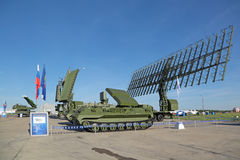 Radars. ZHUKOVSKY, MOSCOW REGION, RUSSIA - AUG 24, 2015: Self-propelled radar systems at the International Aviation and Space salon MAKS-2015 Royalty Free Stock Photography