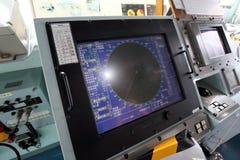 Radarskärm av den japanska krigsskeppet Arkivbild