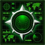 Radarskärm med jordklotet vektor illustrationer