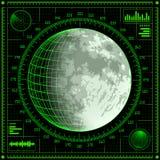 Radarskärm med månen vektor illustrationer