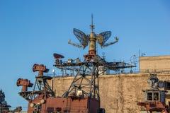 Radarsysteem van oud slagschip Stock Fotografie