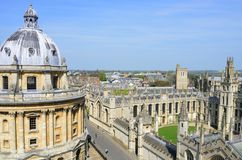 Radcliffe camera and all souls college from Church Tower. OXFORD ENGLAND  20 April 2015:  Radcliffe camera and all souls college from Church Tower Royalty Free Stock Photo