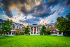 The Radcliffe Institute for Advanced Study at sunset, at Harvard. University, in Cambridge, Massachusetts stock images