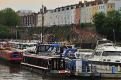 Radcliffe and river Avon, Bristol, England, UK. Radcliffe: typical British houses and riverfront in the old town of Bristol, England, Britain Stock Photos