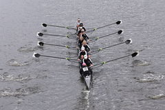 Radcliffe Women's Crew races in the Head of Charles Regatta Women's Master Eights Royalty Free Stock Image