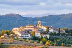 Radda in Chianti. The village of Radda in Chianti at sunset, province of Siena, Tuscany, Italy stock photo