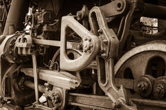 Raddetail einer Dampfzuglokomotive Lizenzfreie Stockfotos