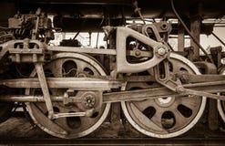 Raddetail einer Dampfzuglokomotive Stockbild