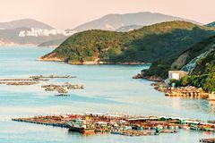 Radeaux de pisciculture dans la baie du village de fisherfolks de Sok Kwu Wan sur la traînée de promenade de famille sur l'île de images libres de droits