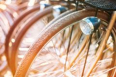 Raden av parkerade tappningcyklar cyklar för hyra på Royaltyfri Bild