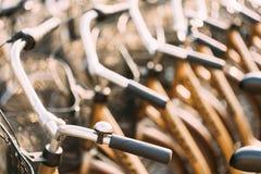 Raden av staden parkerade cyklar cyklar för hyra på trottoaren close upp Royaltyfri Foto