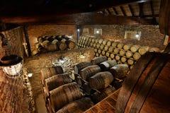 Rader av alkoholiserade valsar i materiel spritfabrik Cognac whisky, vin, konjak Alkohol i trummor royaltyfria bilder