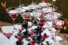Rader av Champagne Glasses med färgcoctailar Arkivfoto