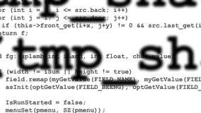 Rader av datorkoden som försvinner i avstånd Arkivfoto