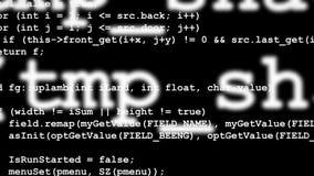 Rader av datorkoden som försvinner i avstånd Arkivbilder