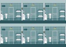 Rader av fängelseceller royaltyfri illustrationer