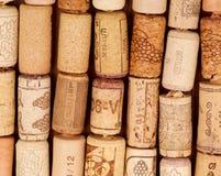 Rader av gammala Winekorkar Royaltyfri Fotografi