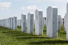 Rader av gravstenar på Miramar den nationella kyrkogården royaltyfria foton