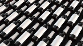 Rader av högväxta ölflaskor med tomma etiketter Fotografering för Bildbyråer