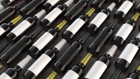 Rader av högväxta ölflaskor med tomma etiketter Arkivbilder
