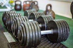 Rader av hantlar i idrottshallen Fotografering för Bildbyråer