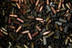 Rader av kulan bilden för kulor för bakgrund 3d frambragda framför datoren Handel i vapen - kulbakgrund Arkivbild