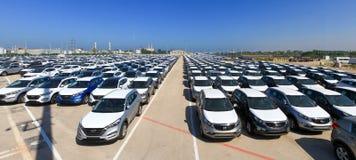 Rader av nya bilar Fotografering för Bildbyråer