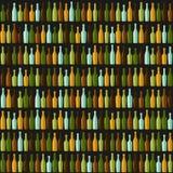 Rader av olika flaskor på en svart bakgrund Vektor Illustrationer