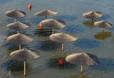 Rader av parasollen i vattnet Arkivfoto