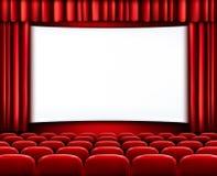 Rader av röda bio- eller teaterplatser Arkivfoton
