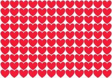 Rader av röda hjärtor Royaltyfri Bild