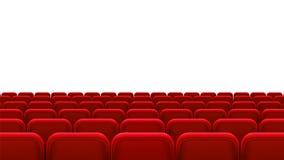 Rader av röda platser, baksidasikt Tomma platser i biokorridoren, bion, teatern, operan, händelser, visar Inre beståndsdel royaltyfri illustrationer