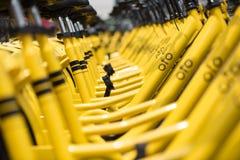 Rader av station-fria delade cyklar för guling OFO Royaltyfria Foton