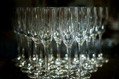 Rader av tomma Champagne Glasses på tabellen Royaltyfri Foto