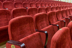 Rader av tomma röda sammetplatser Royaltyfri Bild