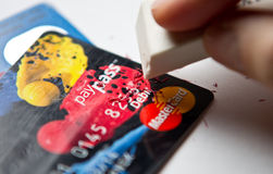 Radera kreditkortskulden Royaltyfri Bild
