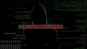 Raderade data, mislyckat försök att hacka serveren, brottsling som gör en gest i ilska arkivfilmer