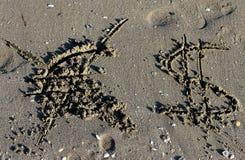 Raderat eurosymbol och dollartecknet på stranden Royaltyfri Fotografi