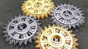Radertjes en toestellen van verschillende munten in motie vector illustratie