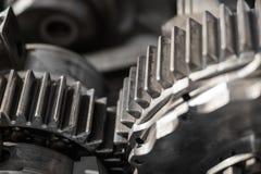 Radertjes en toestellenclose-up, uitstekende machinesmacro stock fotografie