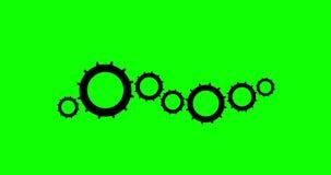Radertjes en Wielen4k Animatie met Groene Alpha Channel stock illustratie