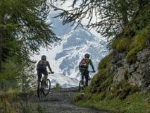 Radfahren auf mountainbikes im Hochgebirge Lizenzfreie Stockfotografie