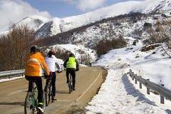 Radfahren in den Schnee Lizenzfreie Stockfotos