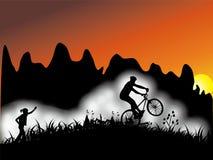 Radfahren des jungen Mannes stock abbildung