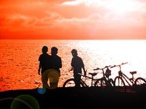 Radfahren und Fischerei Lizenzfreie Stockbilder